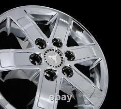 4 CHROME 2007-14 GMC SIERRA YUKON 17 Alloy Wheel Skins Hub Caps Full Rim Covers
