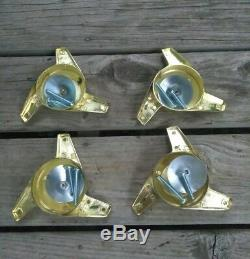(4) GOLD knock off style spinners ONLY CRAGAR STAR WIRE WHEELS True Spoke Dayton
