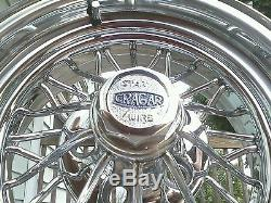 (4) NEW Cragar Star Wire Wheels 30 Spoke Center Caps Tru True Tru=spoke Crager