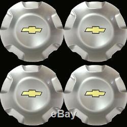 4x CHEVY WHEEL CENTER CAPS SILVERADO TAHOE SUBURBAN AVALANCHE 2007-2013 SILVER