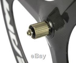 700C 70mm Road Bike 3 spokes Wheels Carbon Fiber Tri Spoke Wheelset Road Wheels