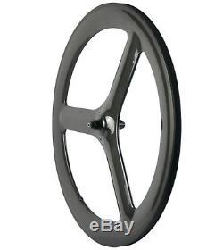 700C Front Tri Spoke Rear Disc Wheelset Front+Rear Carbon Wheels Road/Track Bike