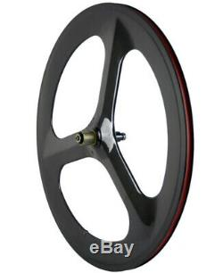 700C Full Carbon Fiber Wheels 70mm Road Bike Tri Spoke Front+Rear Whheelset Race
