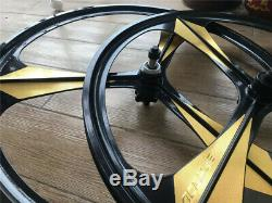 700C Road Bike 3-Spoke Mag Wheels Wheelset Set Rims Disc Brake 6/7 Speed WithQR