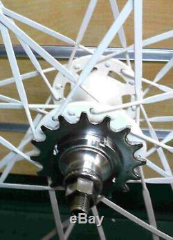 700c 32H Fixed Gear Front & Rear Wheels w Flat Blad spokes Sealed Bearing Gold
