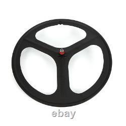 700c 3-Spoke Fixie Fixed Gear Single Speed Bike Front Rear Mag Black Wheels Set