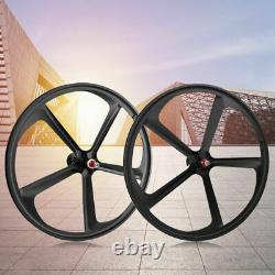 700c 5 Spoke Fixed Gear Single Speed Bike Fixie Spoke Mag Wheel Rim Front + Rear