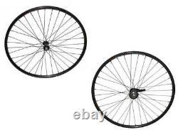 700c Alloy Front & Coaster Brake Rear Bike Wheel 36 Spoke Single wall Black