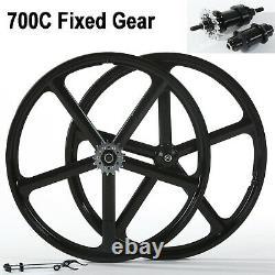 700c Fixed Gear 5-Spoke Mag Wheels Rims Set of Front & Rear Fixie Bike Clincher