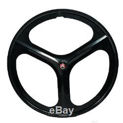 700c Tri Spoke Fixie Fixed Gear Single Speed Mag Wheel Rim Front&Rear (Black)