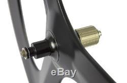 70 Tri Spokes Carbon Wheelset Clincher Road Bike Carbon Fiber UD Matte Superteam