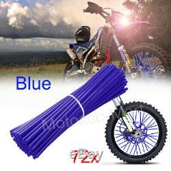 72 Blue Spoke Skins Covers Motocross Dirt Bike Wheel Rim Spoke Wraps Skins Cover