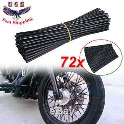 72 Motorcycle Dirt Bike Spoke Skins Covers Wraps Wheel Rim Guard Protector Black