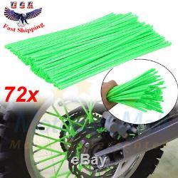 72 Motorcycle Dirt Bike Spoke Skins Covers Wraps Wheel Rim Guard Protector Green