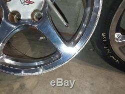 97-04 Corvette C5 5 Spoke Polished Front Rear Wheels 17/18 Rims Aa6388