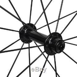 Aero Spokes Carbon Wheelset Clincher Road Bike 700C 50mm 25mm wide UD Matt R13