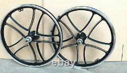 BMX 20 x 32mm Front & Rear Alloy Freewheel Wheel 10 spokes Chrome / Black H14