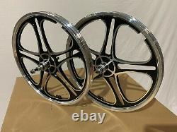 BMX 20 x 35mm Front & Rear Freewheel Bicycle Alloy Wheel w 10 spokes Chrome H02
