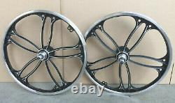 BMX 20 x 35mm Front & Rear Freewheel Bicycle Alloy Wheel w 10 spokes Chrome H16
