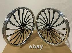 BMX 20 x 35mm Rear & Front Bicycle Alloy Wheel w 18 spokes Chrome / Black H01BK