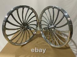 BMX 20 x 35mm Rear & Front Bicycle Alloy Wheels w 18 spokes Chrome H01S