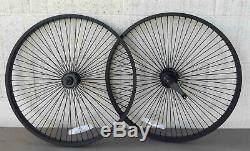Beach Cruiser Bike 26x1.75 68 spokes Rear & Front Wheelset Black