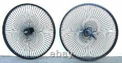 Beach Cruiser Lowrider 26 140 spokes Rear & Front Bicycle Wheelset Black