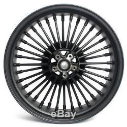 Black 21 18 Front Rear Cast Casting Wheels Dual Disc Fat Spokes Dyna Softail