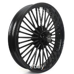 Black 21''x3.5 / 18''x3.5'' 36 Spokes Wheels Rims For Dyna Super Glide Low Rider
