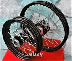 Black 40 Spoke Front/rear Wheel Set Harley Sportster 883 883c 1200 1200c 84-99
