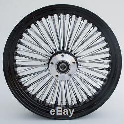 Black/Chrome 48 King Spoke 16x3.5 SD Front & 16x3.5 Rear Wheel Set for Harley