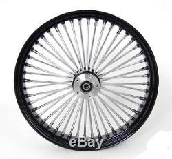 Black/Chrome 48 King Spoke 21x3.5 DD Front & 16x3.5 Rear Wheel Set for Harley