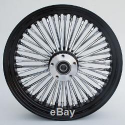 Black & Chrome Ultima 48 King Spoke 16 x 3.5 Front Wheel Dual Disc For Harley