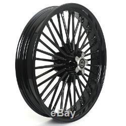 Black Fat Spoke Wheel Single Disc 21x3.5 18x3.5 For Dyna Softail FLST Sportster