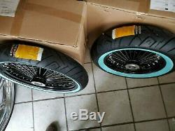 Blk 21 X 3.5 DD & 16 X 3.5 Fat Spoke Wheel Set WWW Tires Harley Flh 2000-2003
