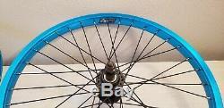 Blue ano 36 spoke DK BMX 20 wheel set 14mm rear axle 3/8 front nice used wheels