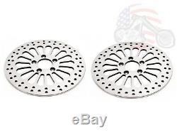 DNA 11.8 Super Spoke Polished Front Rear Disc Brake Rotors Set 2008-13 Harley