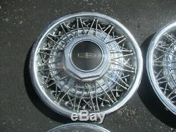 Factory 1980 to 1990 Lincoln Town Car 15 inch wire spoke hubcaps wheel covers