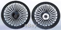 Fat Spoke 18 Front 16 Rear Wheel Black Harley Softail Heritage Fat Boy Deluxe