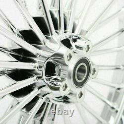Fat Spoke 21 2.15 Front 16 3.5 Rear Chrome Cast Wheels Touring Softail Dyna