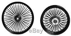 Fat Spoke 21 Front & 16 Rear Wheels Black Harley Softail Heritage Fat Boy Dyna