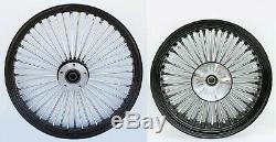 Fat Spoke 21 Front & 18 Rear Black Wheel Harley Electra Glide Road King Street