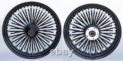 Fat Spoke 21 Front 18 Rear Wheel Black Harley Softail Heritage Fat Boy Deluxe