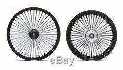 Fat Spoke Black 21 Front & 16 Rear Wheel Set Harley Softail Fxst Night Train