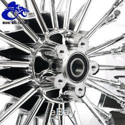 Fat Spoke Chrom 21/18 Front Rear Wheel Rim Set Single Disc Touring Dyna Softail