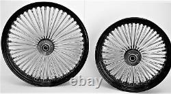 Fat Spoke Wheels 21 & 16 Black Front/rear Harley Sportster Nightster Iron 08-18