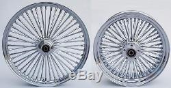 Fat Spoke Wheels 21 & 16 Chrome Front/rear Harley Sportster Dyna Super Glide Low