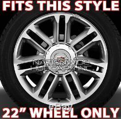 Fits 07-15 Cadillac Escalade Chrome 22 Wheel Center Hub Caps Hubs Rim Covers LC