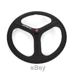 Fixed Gear Wheelset Rear Front 700c Tri Spoke Track Wheel Clincher Black Wheel