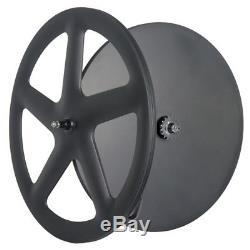 Front Five Spoke Rear Disc Track Bike Wheel 700C Fixed Gear Carbon Dics Wheel